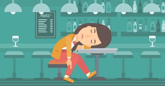 Mulher dormindo no bar.