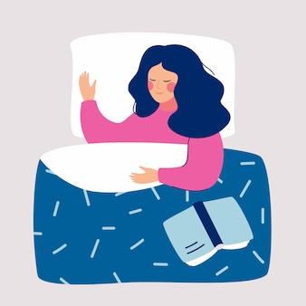 Mulher, dormir, à noite, em, dela, cama, com, livro aberto