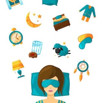 Mulher dormir na máscara e conjunto de elementos para o sonho. ilustração