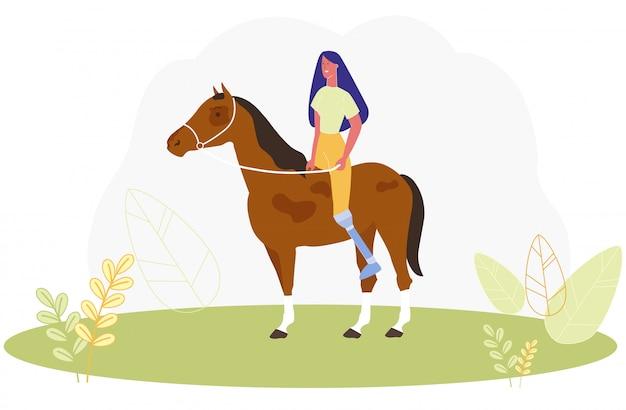 Mulher dos desenhos animados com cavalo de equitação de perna protética
