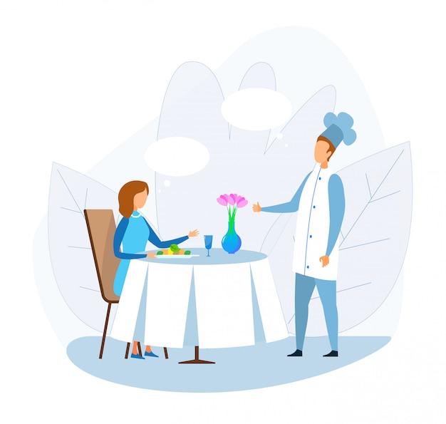 Mulher dos desenhos animados, falando com o chef no restaurante