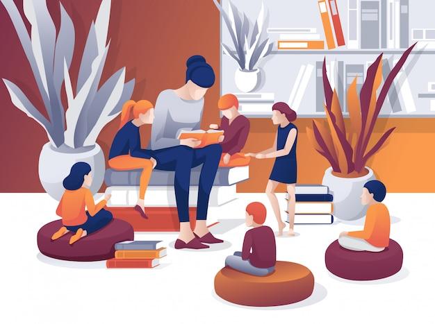 Mulher dos desenhos animados ler livro biblioteca para crianças ouvem