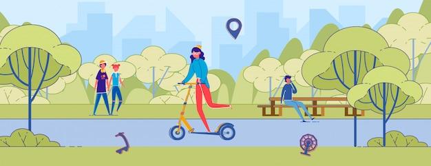 Mulher dos desenhos animados, montando o patinete no parque da cidade