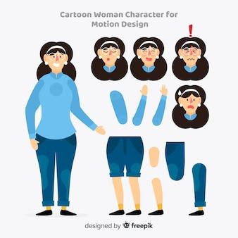 Mulher dos desenhos animados para design de movimento