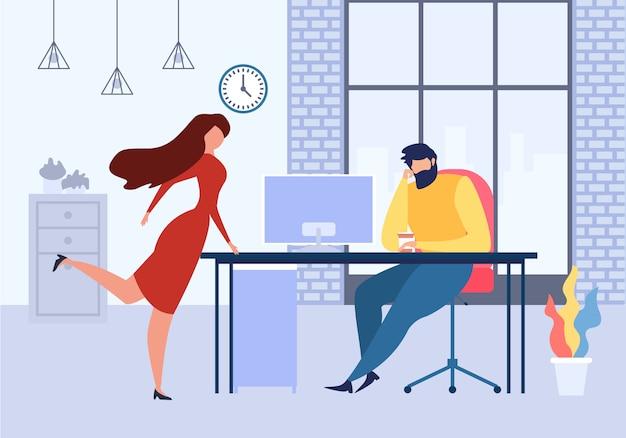 Mulher dos desenhos animados perto de flerte de mesa de escritório com o homem no trabalho