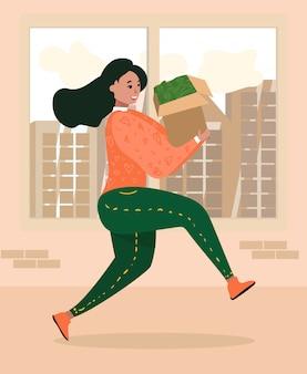 Mulher dos desenhos animados se apresse com caixa cheia de dinheiro dinheiro