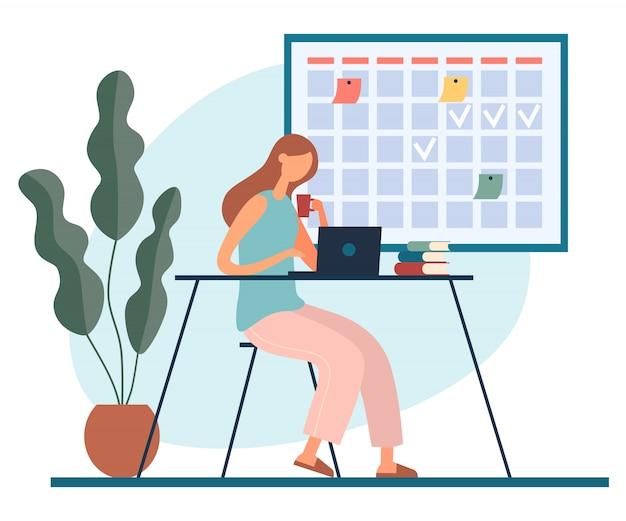 Mulher dos desenhos animados, trabalhando com o laptop em casa com bebida quente