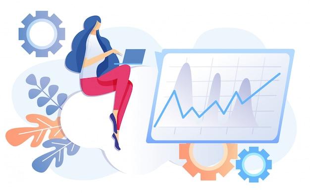 Mulher dos desenhos animados trabalhar no caderno finanças analisar