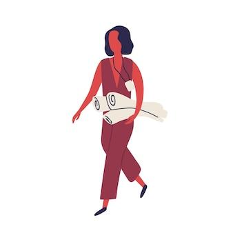 Mulher dos desenhos animados usando distintivo segurando ilustração plana em vetor rolo de papel. empregada corporativa feminina elegante de negócios com documento de transporte de passagem isolado no branco. caráter de engenheiro profissional.