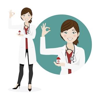 Mulher, doutor, com, medicinas, ligado, um, fundo branco