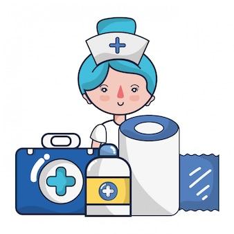 Mulher, doutor, e, médico, cartoons