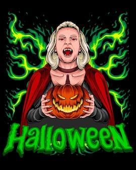 Mulher drácula segurando abóbora de halloween
