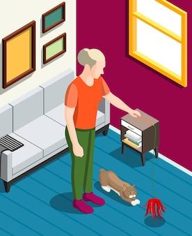 Mulher durante jogos com seu gato fundo isométrico com ilustração do interior da casa