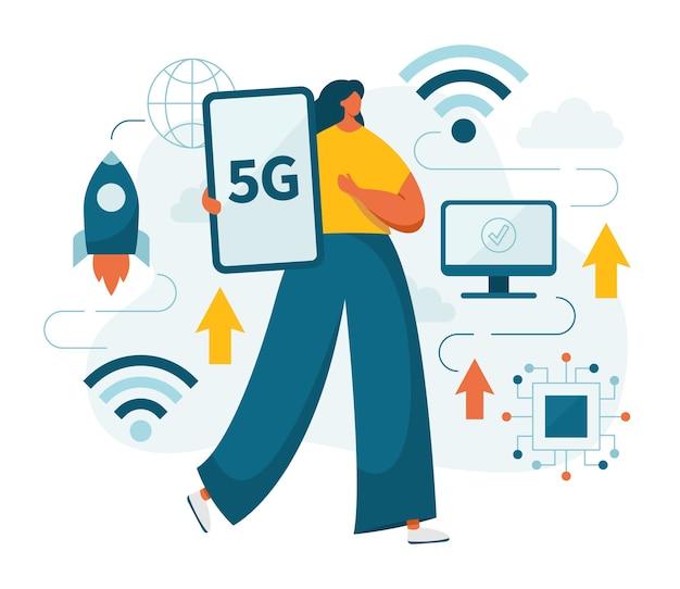 Mulher e 5g rede de telecomunicações de quinta geração com dispositivos móveis, smartphones, computadores