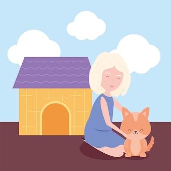 Mulher e cachorrinho