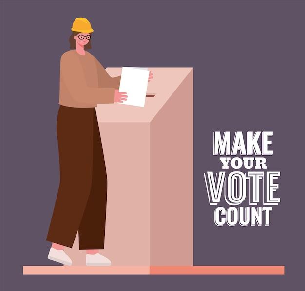 Mulher e caixa de votação com design de texto de contagem de votos, tema do dia de eleições.