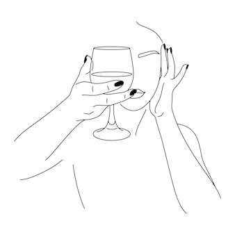 Mulher e copo de vinho em um estilo moderno mínimo. ilustração em vetor moda das mãos femininas em estilo linear. belas artes para pôsteres, tatuagens, logotipos de lojas e bares, postagem nas redes sociais