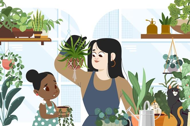 Mulher e criança de desenho animado cuidando de plantas
