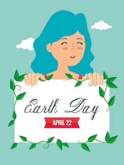 Mulher e emblema com folhas para o dia da terra