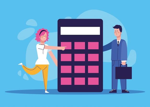 Mulher e empresário com grande calculadora