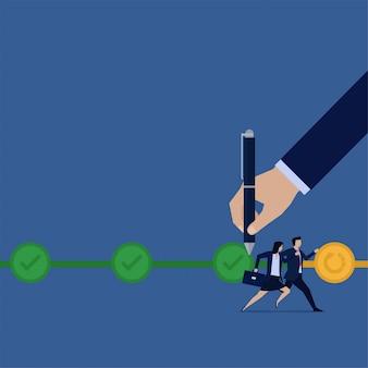 Mulher e empresário plano de negócios correm para o próximo passo para concluir o progresso das tarefas.