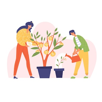 Mulher e filho investidores estão crescendo árvores de dinheiro educação financeira ilustração vetorial