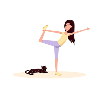 Mulher e gato fazendo ginástica ícone de desenho animado plana de vetor estilo de vida