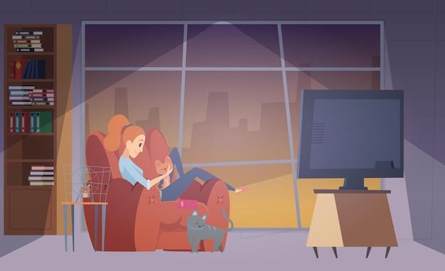 Mulher e gatos. garota feliz na sala de estar com seus animais de estimação. ilustração em vetor fêmea, gato e hamster