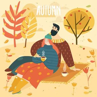 Mulher e homem a um piquenique no outono e rotulação de outono. casal feliz e fofo em fundo de outono com folhas e árvores. a ilustração é para o seu cartão, cartaz, folheto.