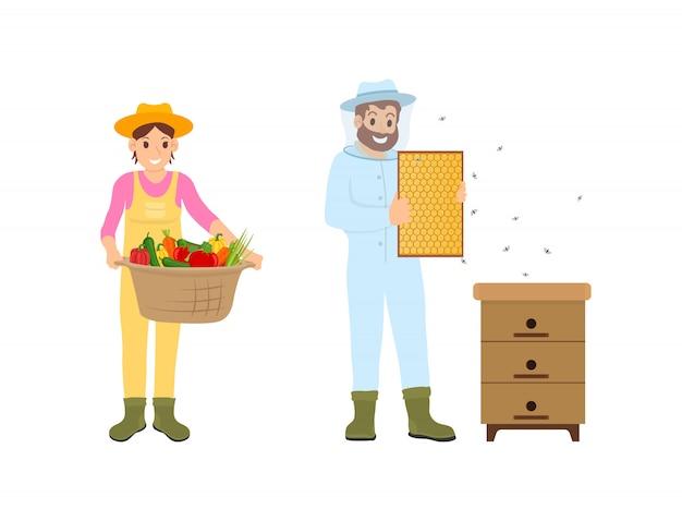 Mulher e homem agricultura conjunto ilustração