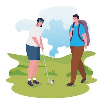 Mulher e homem andando com bolsa e jogando golfe design, atividade ao ar livre e temporada