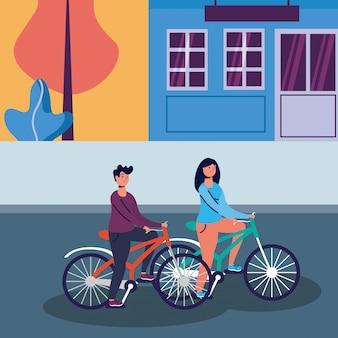 Mulher e homem andando de bicicleta design