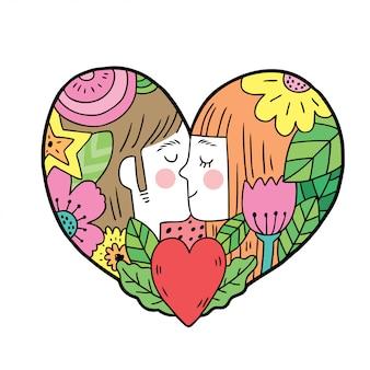 Mulher e homem beijando com flores