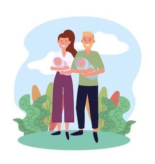 Mulher e homem casal com o filho de bebês
