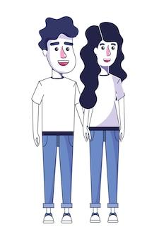 Mulher e homem casal com roupas casuais