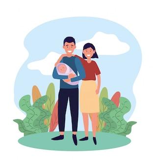 Mulher e homem casal com seu bebê fofo
