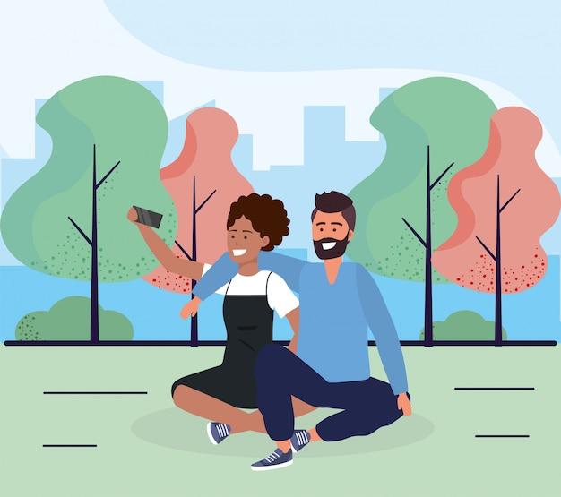 Mulher e homem casal de estar com smartphone