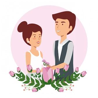 Mulher e homem casal de noivos com flores