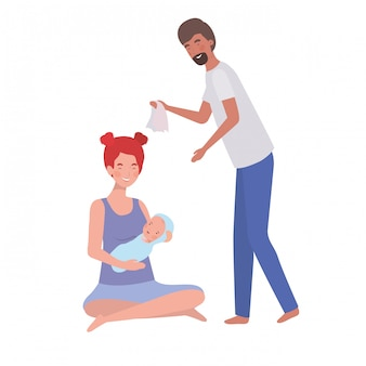 Mulher e homem com bebê recém-nascido