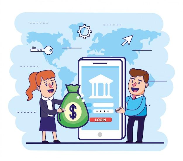 Mulher e homem com bolsa de dinheiro e smartphone