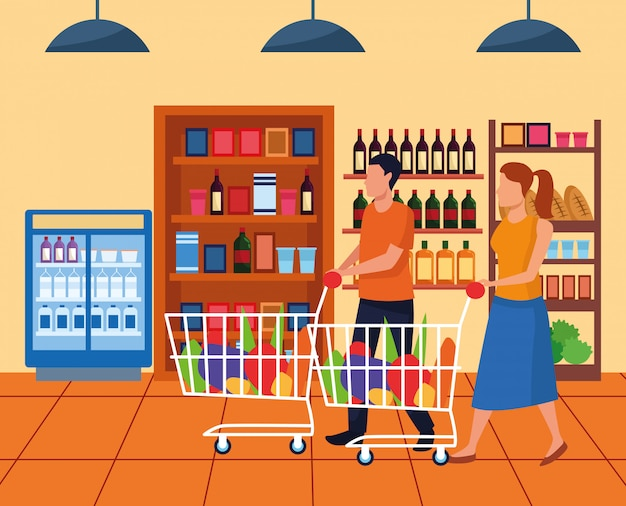 Mulher e homem com carros de supermercado no corredor do supermercado, design colorido