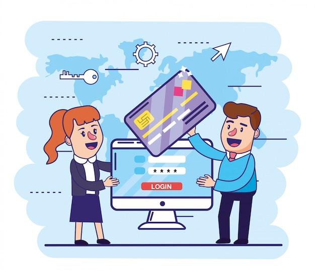 Mulher e homem com cartão de crédito e computador