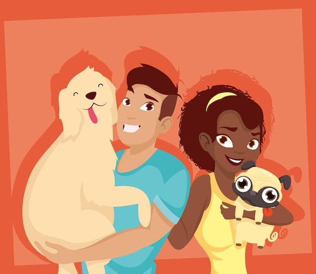 Mulher e homem com design de mascotes de cães, natureza animal de estimação e tema doméstico. ilustração vetorial