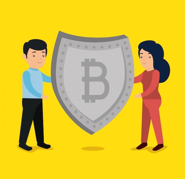 Mulher e homem com escudo de moeda bitcoin