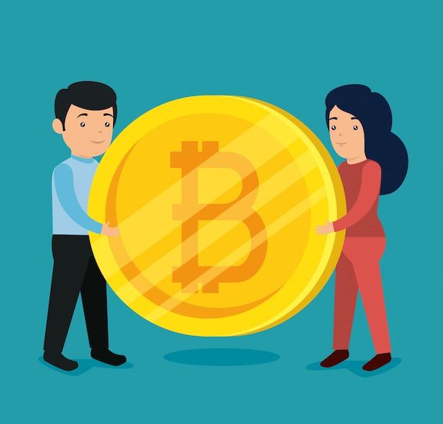 Mulher e homem com moeda eletrônica bitcoin