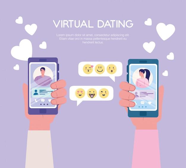 Mulher e homem conversando em smartphones