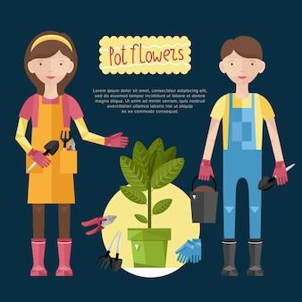 Mulher e homem cuidando de suas plantas