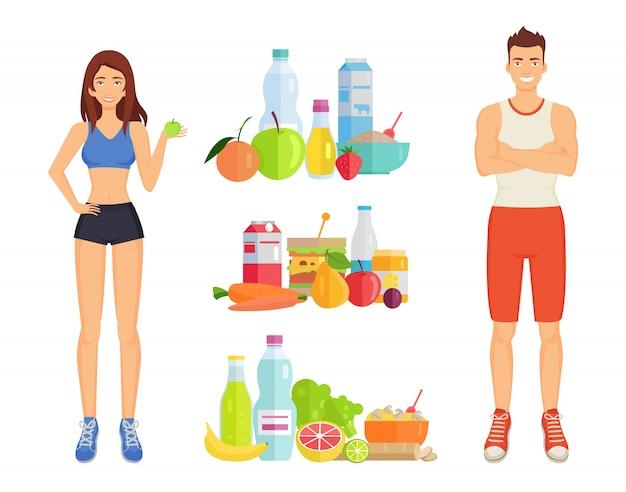 Mulher e homem de comida saudável