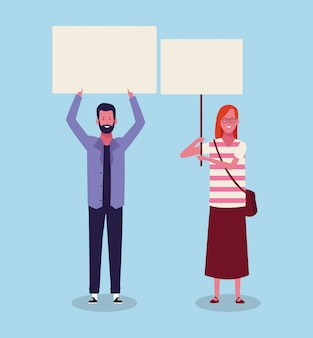 Mulher e homem de pé e protestando com letreiro em branco