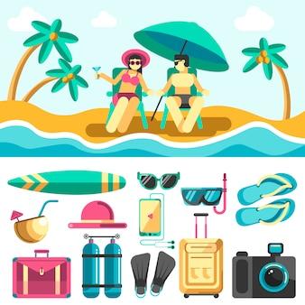 Mulher e homem deitado em espreguiçadeiras na praia de verão